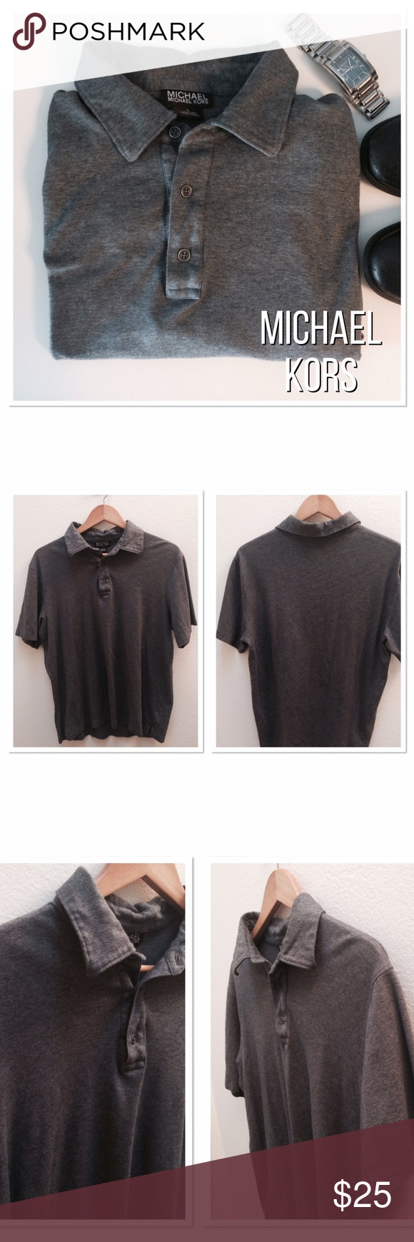 Michael Kors Polo Shirt grey 100% Cotton! Super soft! Length 26in, Width 40in, sleeves 14in. In great condition. No flaws!!!! Size says L but I think it's more M. See measurements! MICHAEL Michael Kors Shirts Polos