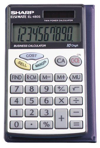 Sharp El 480srb 10 Digit Twin Powered Basic Handheld Calculator Scientific Calculators Calculator Business Calculators