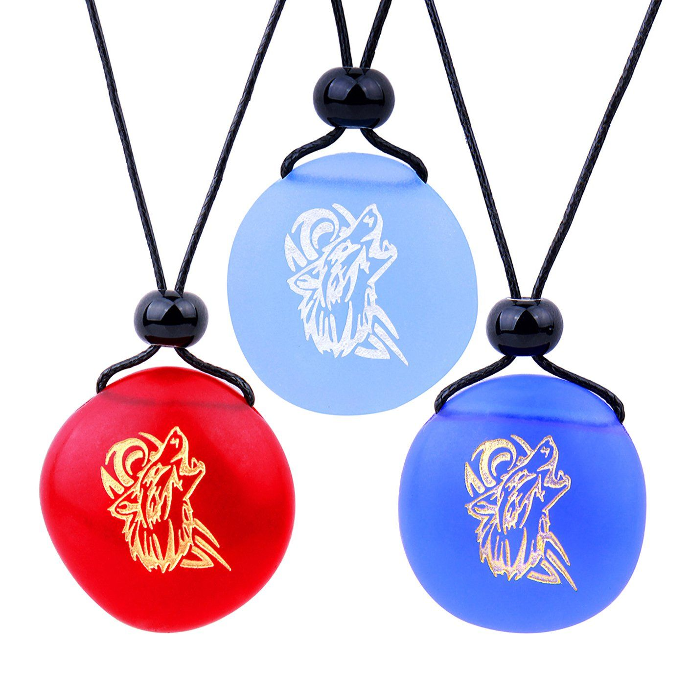 Frosted Sea Glass Stones Celtic Energy Howling Wolf Love Couples BFF Set Amulets Royal Blue Red Necklaces