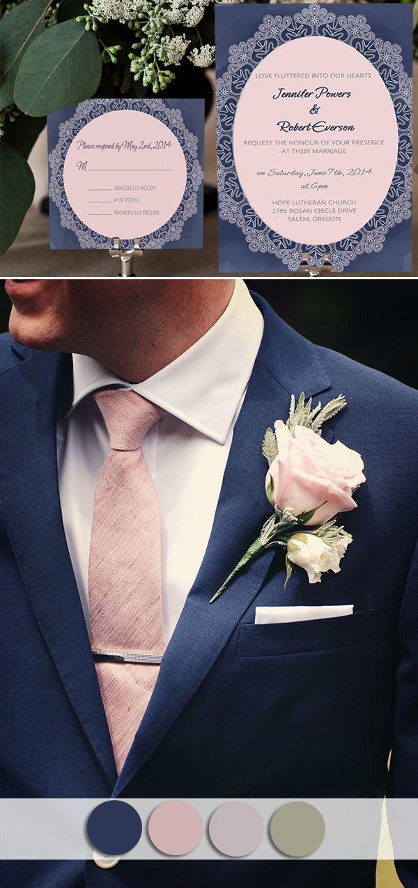 Navy Blue And Blush Pink Wedding Colors Inspired Vintage Wedding Invitations Wedding Suits Men Blue Blue Wedding Invitations Wedding Invitations Vintage Pink