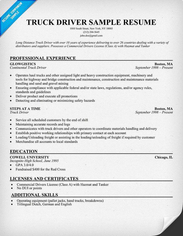 Truck Driver Resume Sample Resume Companion Nursing Resume Lpn Resume Student Resume