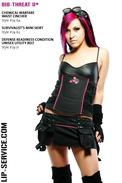 Bio-Threat II Lip Service waist cincher & skirt #cyber