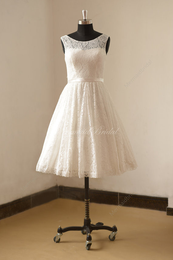 Ivory tea length vintage lace wedding dress | Sonderanfertigungen ...