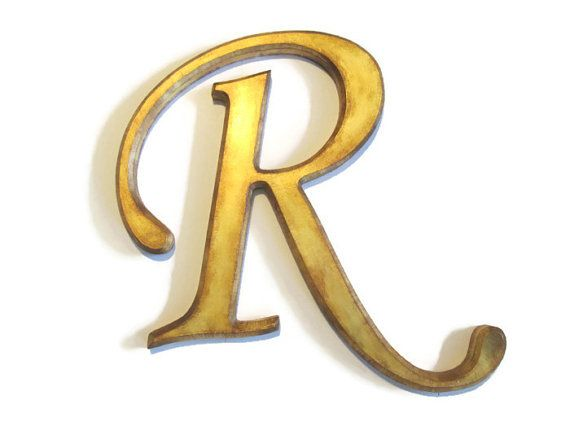 Decorative Wall Letter R antique gold distressed beveled edges ...
