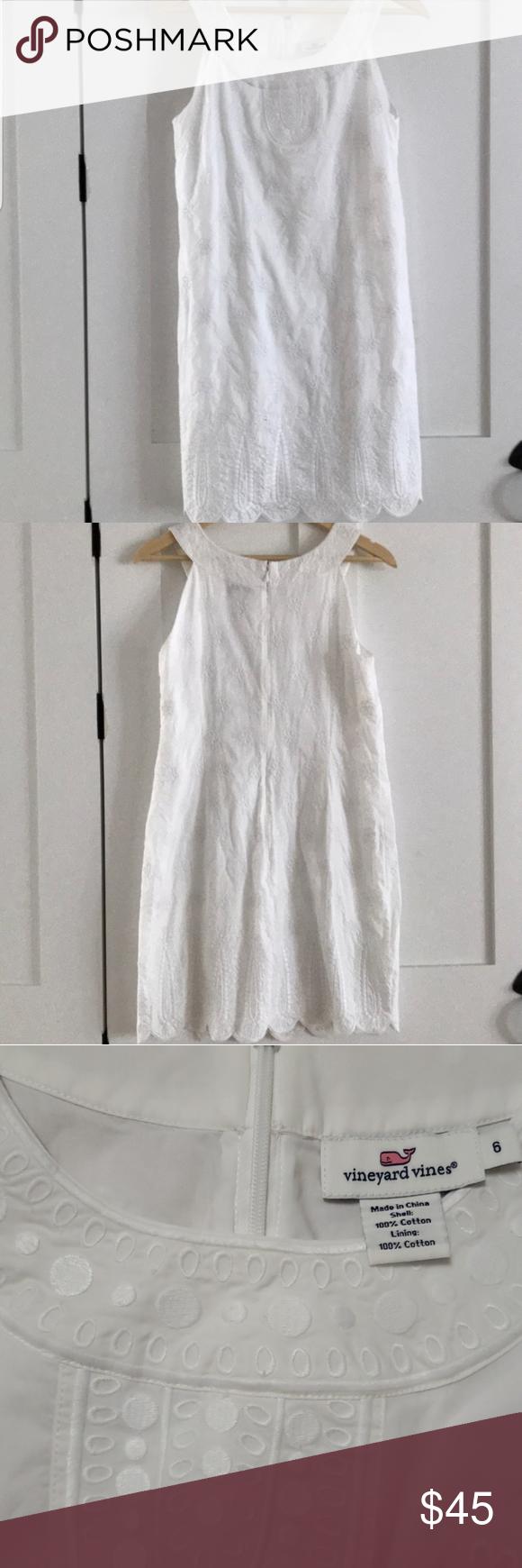 Vineyard Vines Embroided White Dress Size 6 White Dress Dresses Clothes Design [ 1740 x 580 Pixel ]