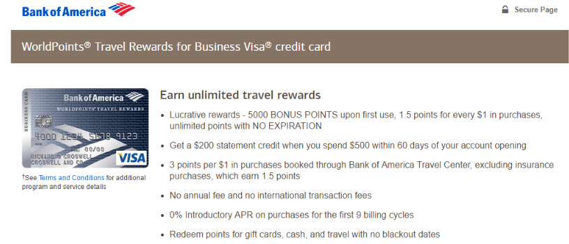 Bank of america worldpoints best credit card offers pinterest bank of america worldpoints business credit cardscredit reheart Image collections