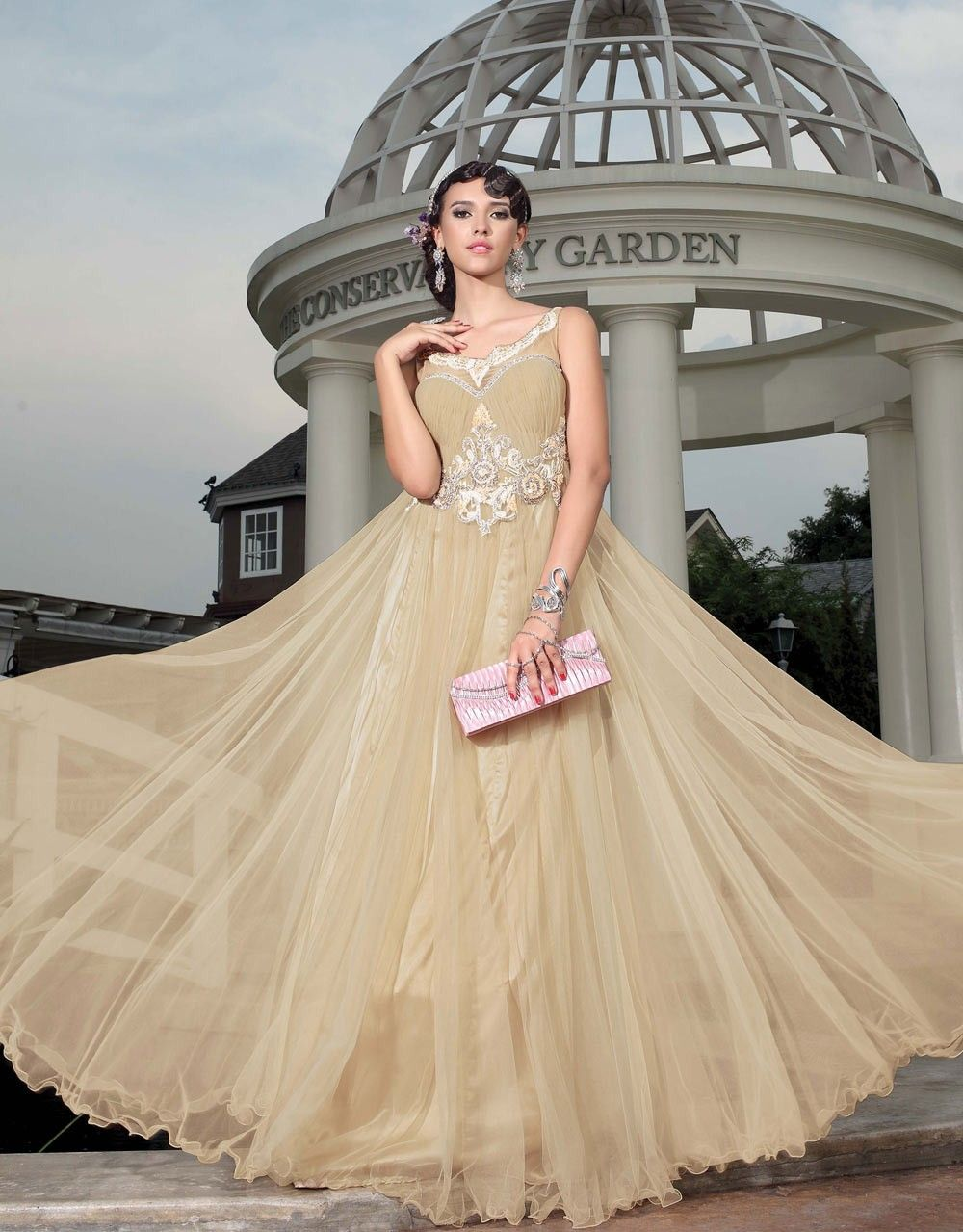 online shopping for party wear gowns Europe, Latest Beige ladies ...