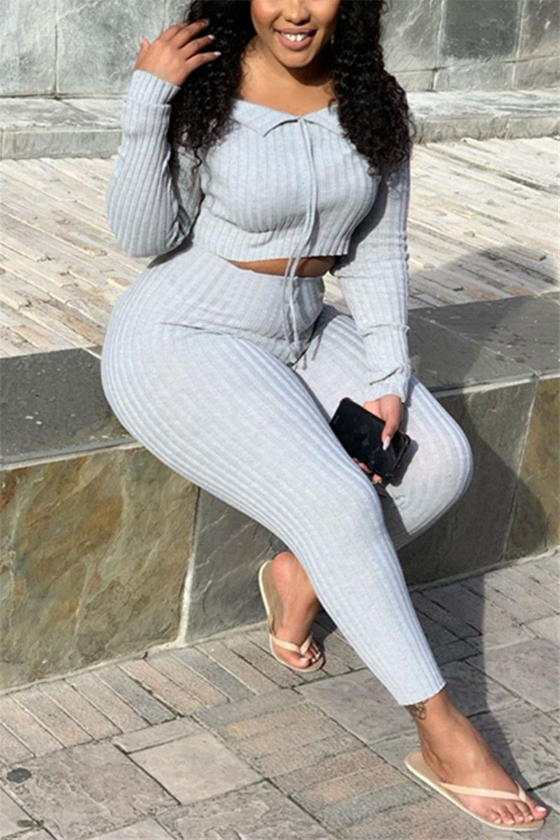 Fashion Casual Boat Neck Gray Long Sleeve Two-Piece-XH1910107-2