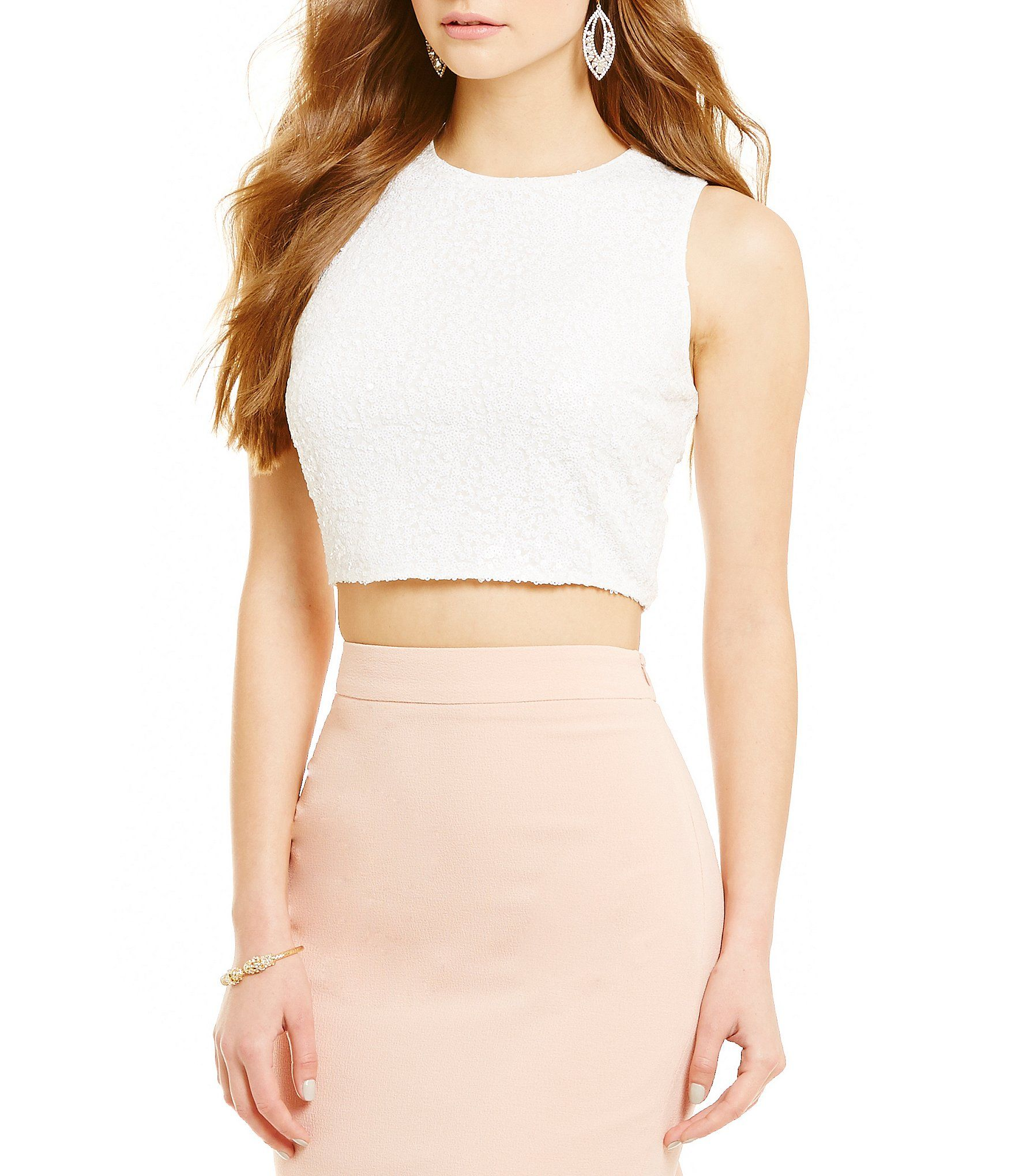 ce2795da432 Belle Badgley Mischka Nadine Zip Back Crop Top  Dillards ...