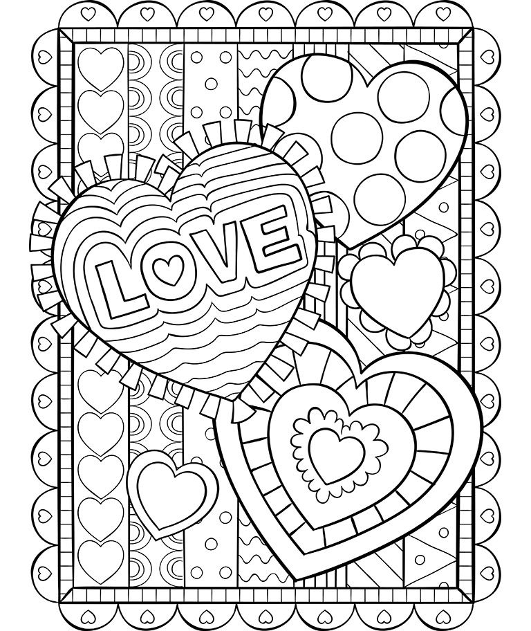 Valentine Hearts Coloring Page Valentine