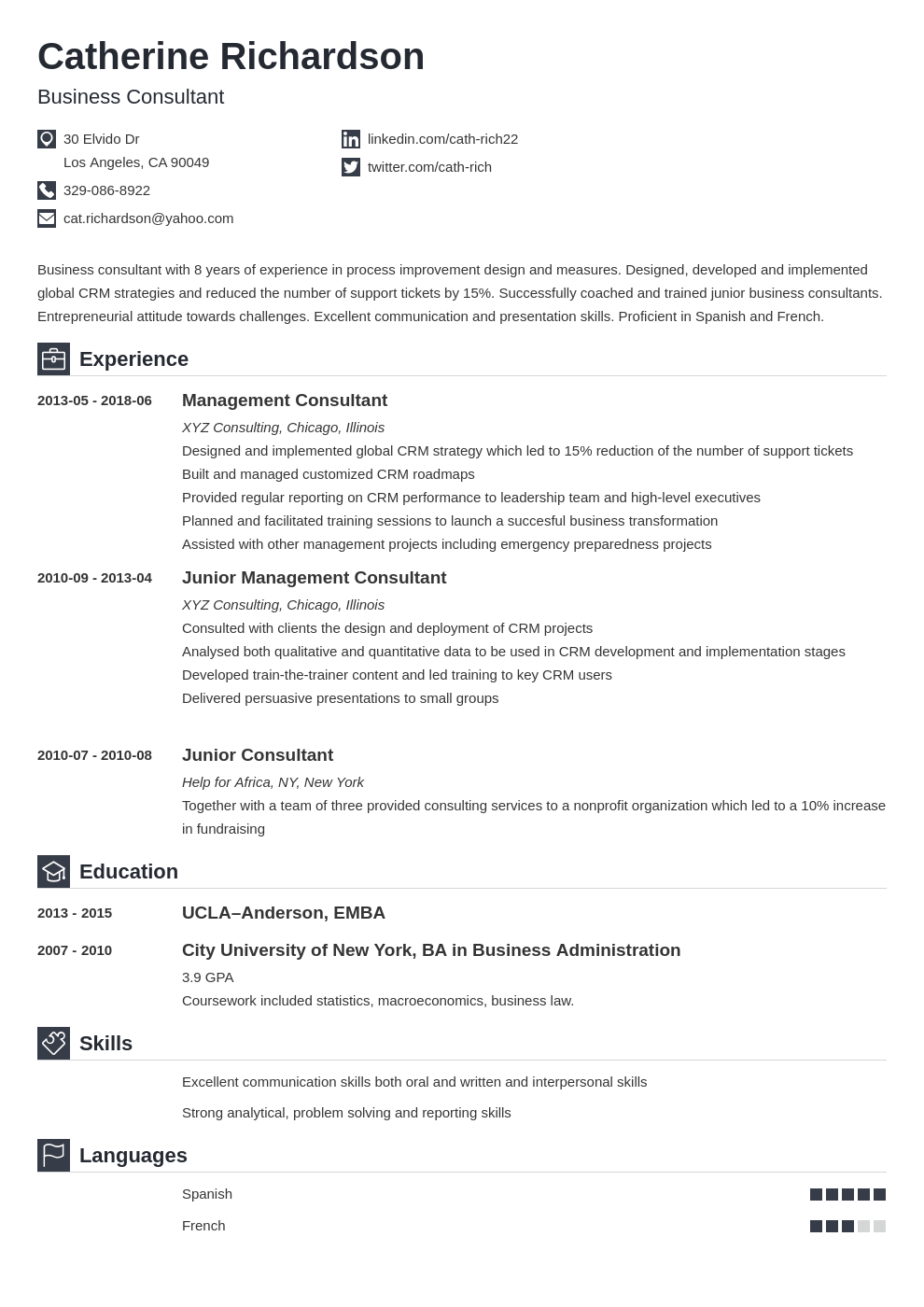 Consultant Resume Example Template Iconic Resume Examples Resume Template Manager Resume