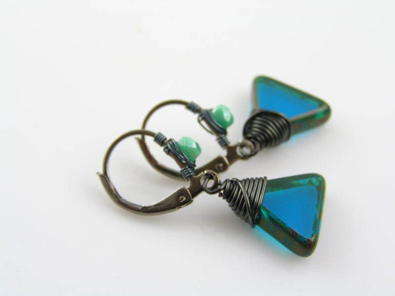 Tropical Blue Triangle Earrings, Wire Wrapped Earrings with Czech ...