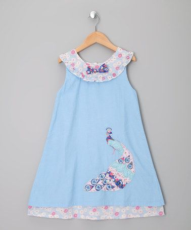 Take a look at this Blue Peacock Corduroy Dress - Infant, Toddler & Girls by Powell Craft on #zulily today!