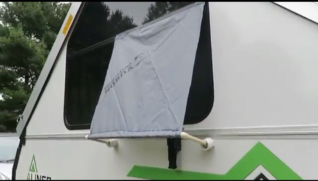 Diy Awnings For Aliner Windows Velcro Top Simple Hem And Pvc Frame On Bottom W Caps Allows You To Keep Windows Opened Whe Diy Awning Awning Camper Windows