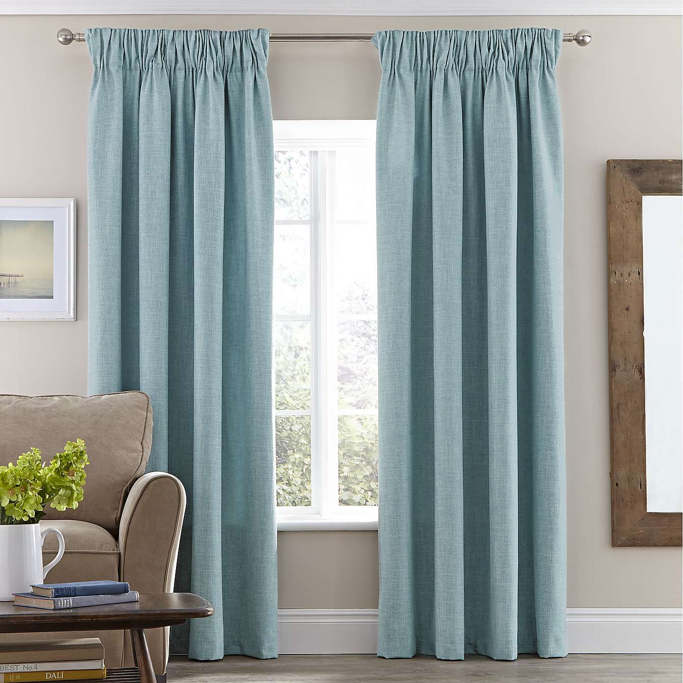 NOT like this Duck Egg Vermont Lined Pencil Pleat Curtain Dunelm Curtain heads Curtains