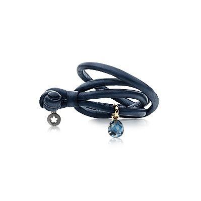 Læderarmbånd blåt