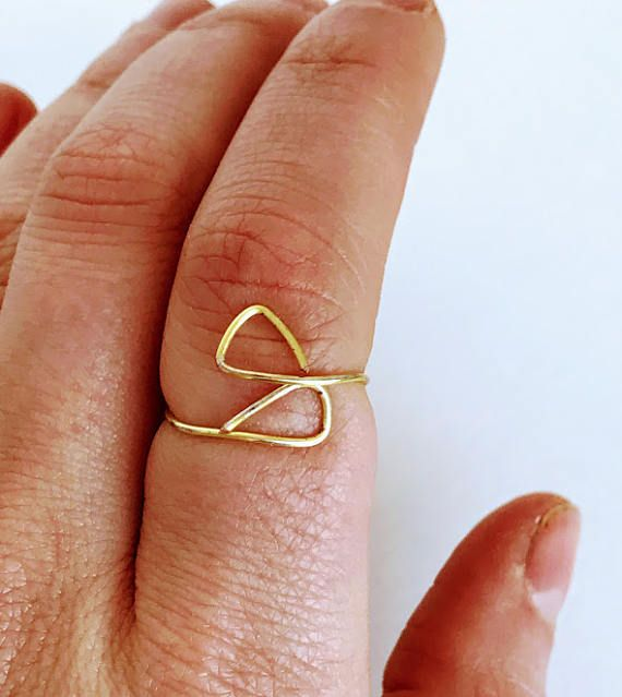 Triangular Wire Gold Ring - Geometric Ring - Gold Wire Ring - Gold ...