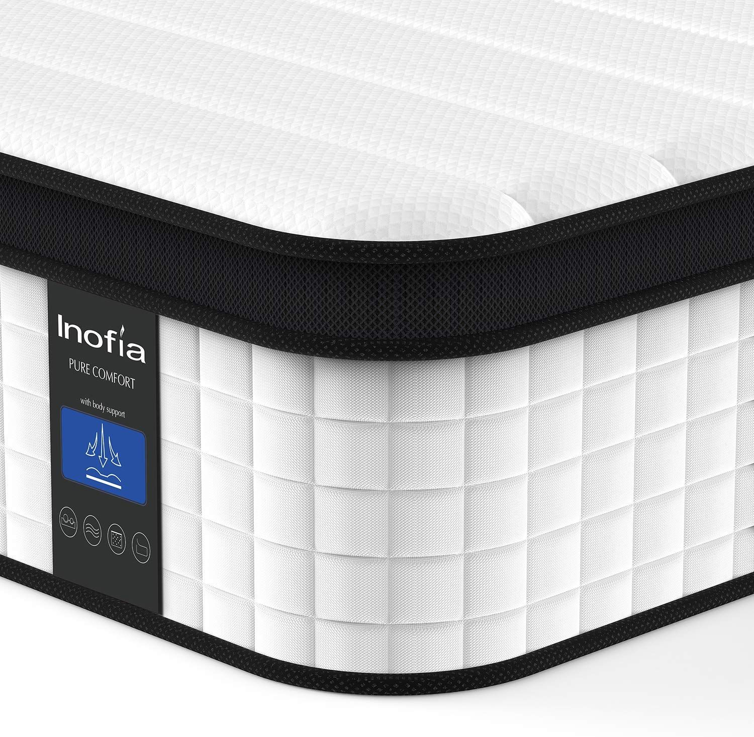 Inofia Twin XL Mattress, 12 Inch Hybrid Innerspring Single