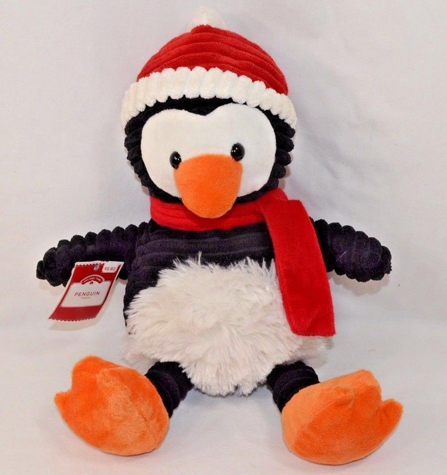 Walmart Penguin Holiday Time Plush Red Hat Scarf Stuffed