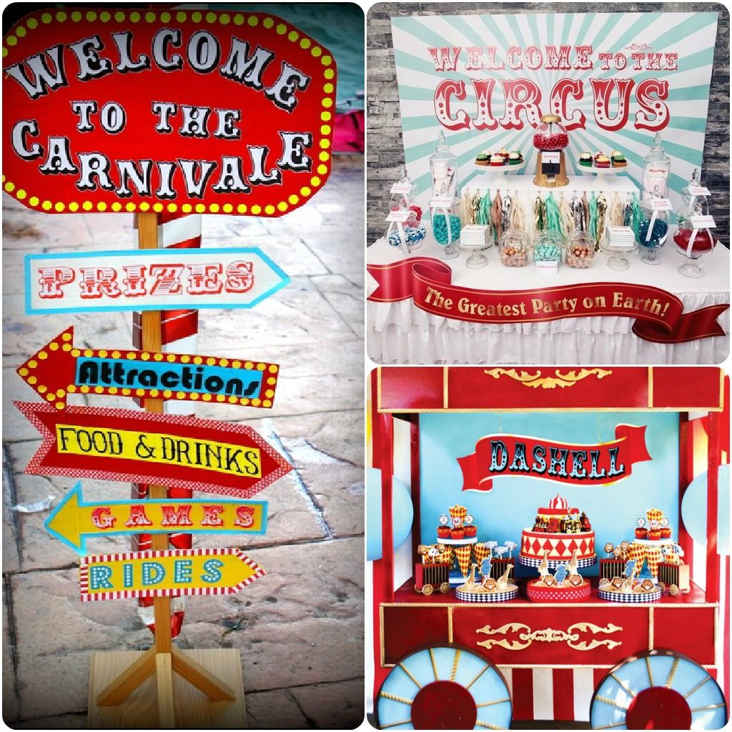 Carnival fair circus themed decorations include wacky road signs and booths that include - Carnival party menu ...