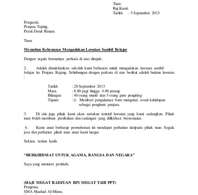 Format Surat Rasmi Lawatan Sambil Format Surat Rasmi Lawatan Mahabbah Format Surat Rasmi Lawatan Ke Format Surat Rasmi Lawatan Tapa Penjara Belajar Surat Cinta