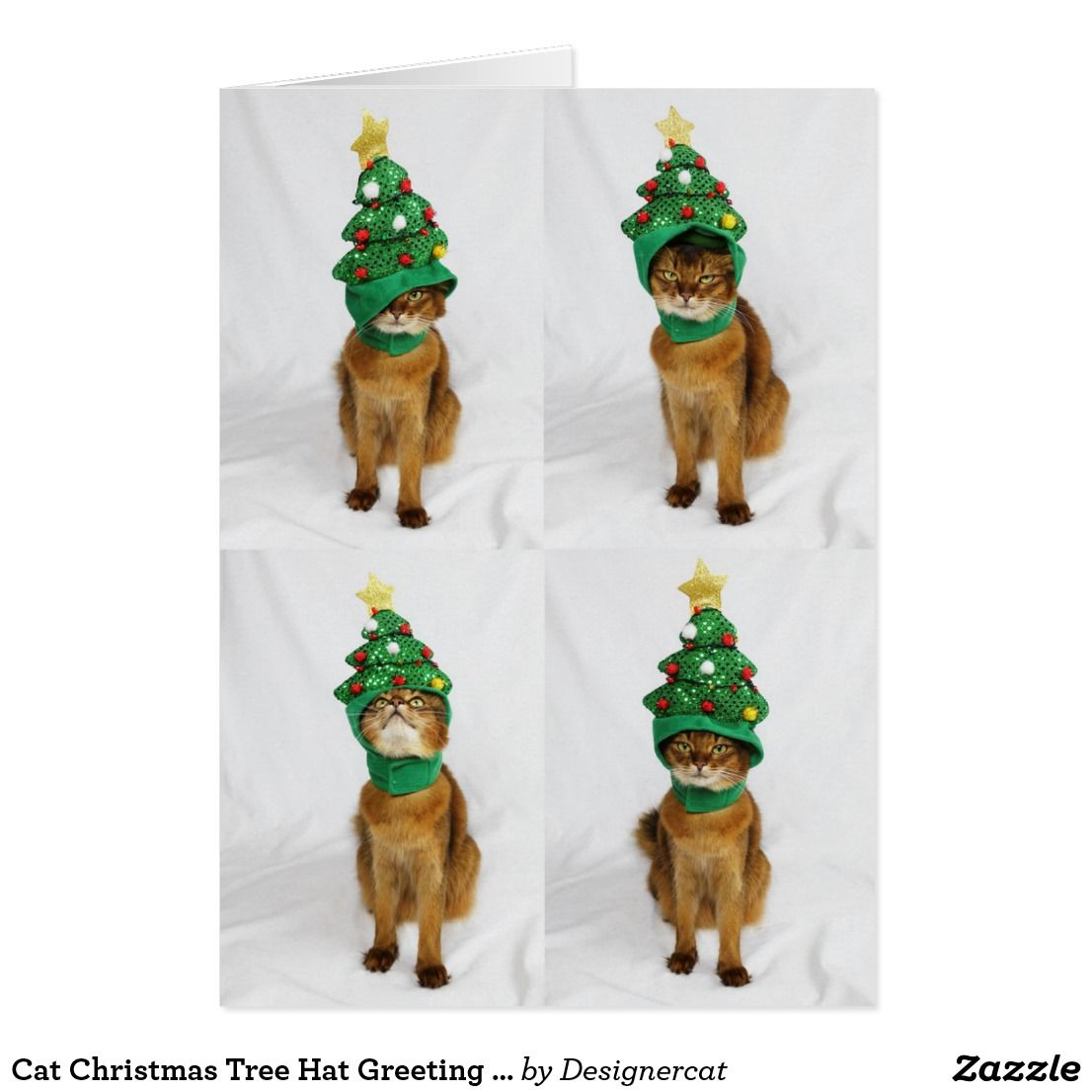 Cat Christmas Tree Hat Greeting Card | Cat christmas tree and Cat