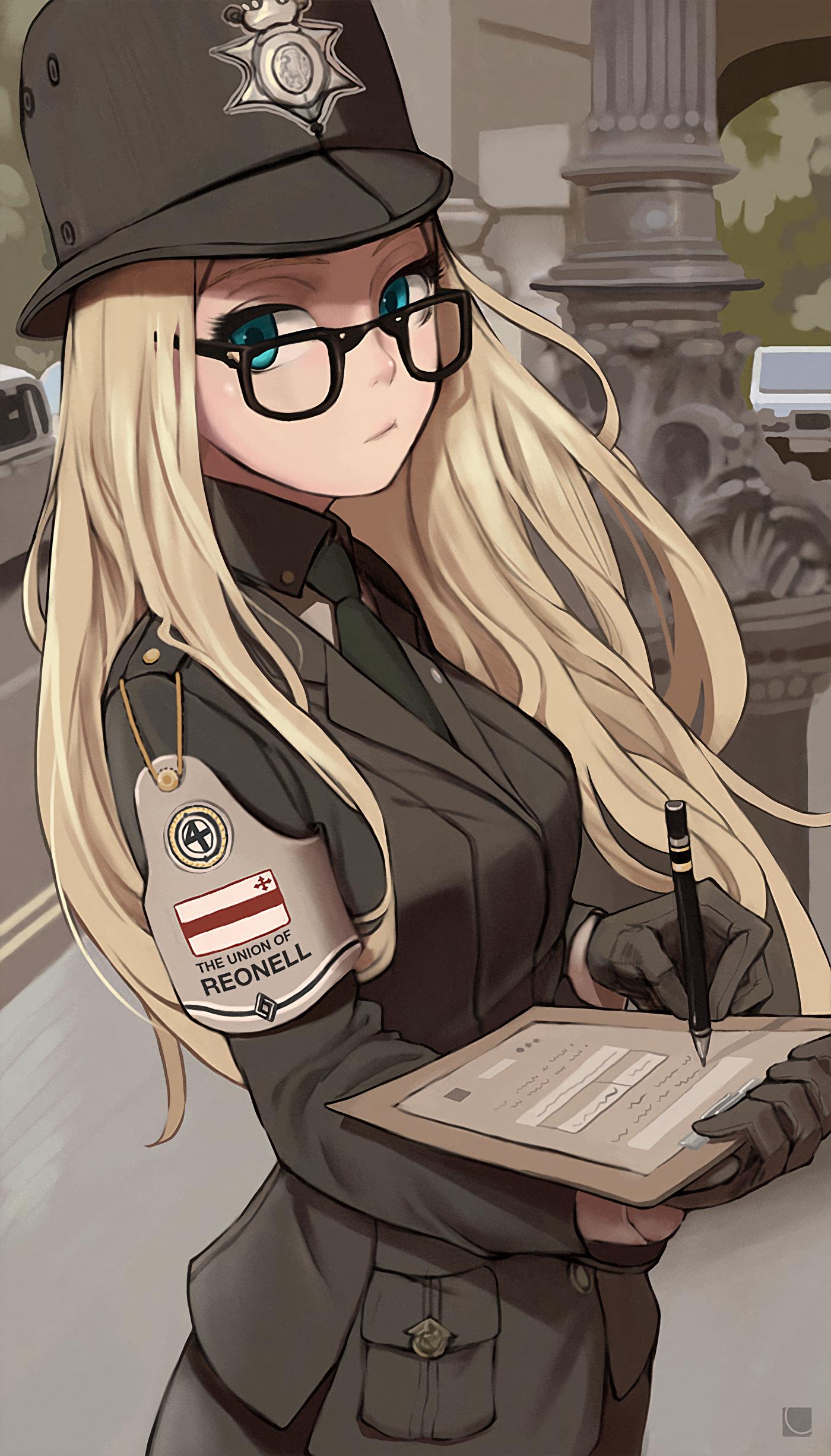 Anime 1400x2452 anime anime girls long hair police blonde