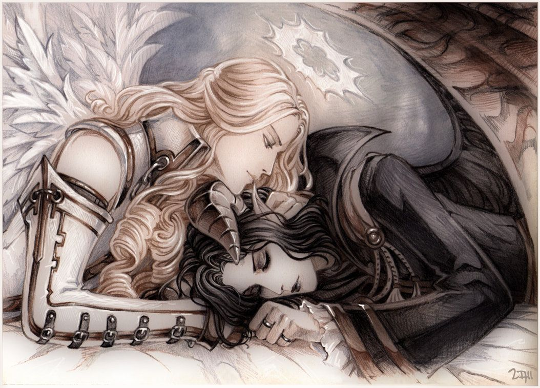 Sleeping Demon and Dreamy Angel by =Candra on deviantART