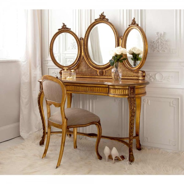 French Antique Gold Dressing Table /& Stool