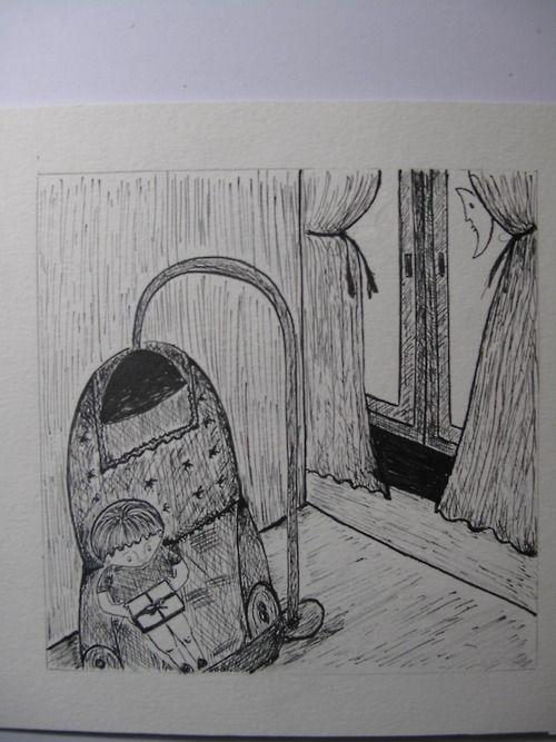 """Ilustración con tinta china """"Niño abriendo un regalo"""" 2012"""