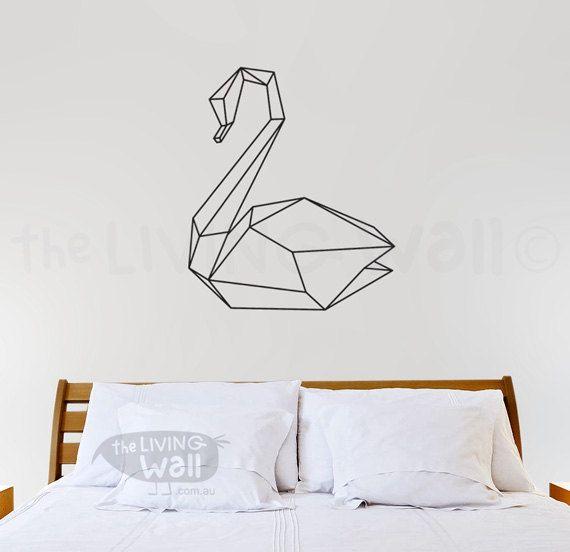 Geometrische Swan muur sticker geometrische Swanes door LivingWall
