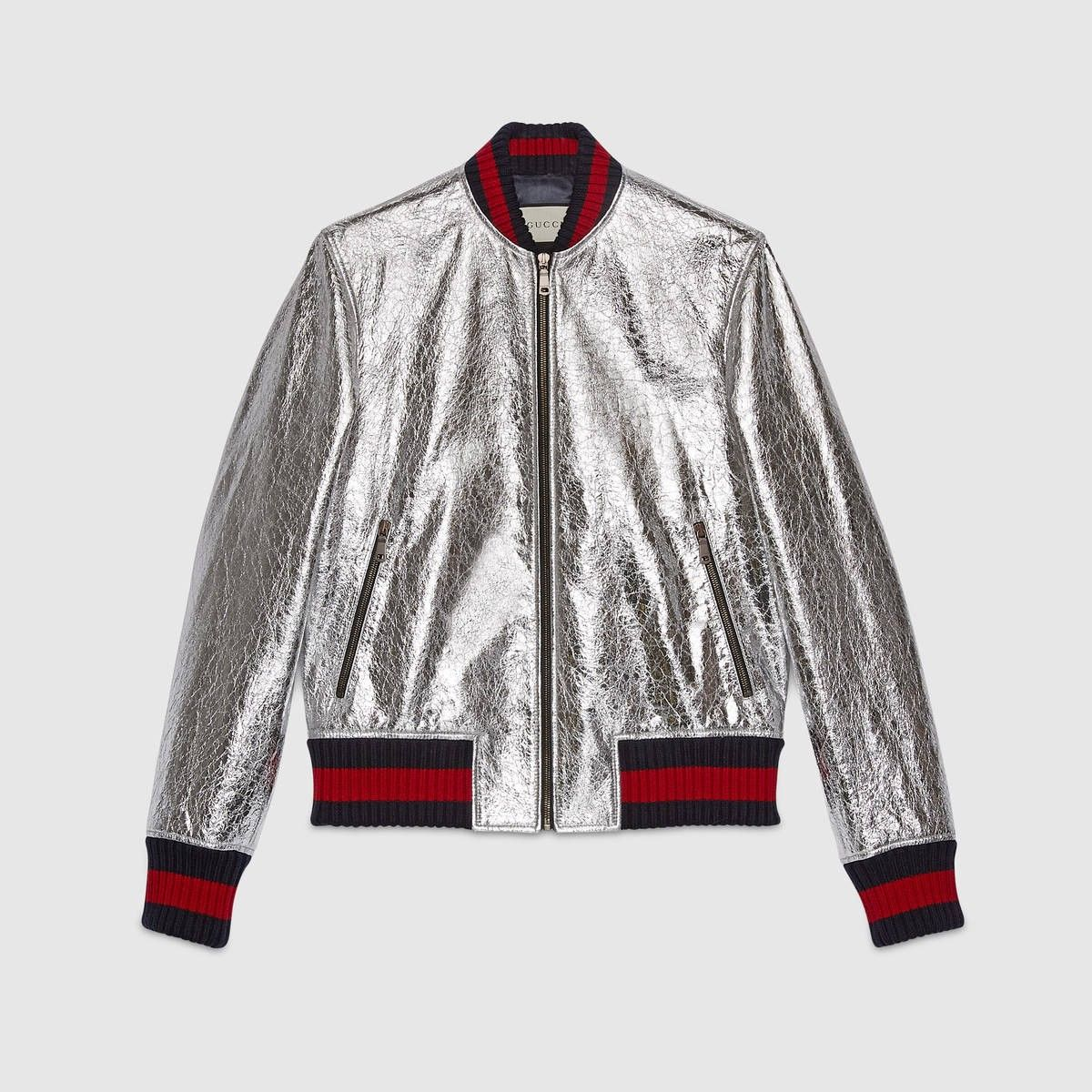 915e55bc97a GUCCI Men S Crackle Leather Bomber Jacket - Silver Leather.  gucci  cloth   all