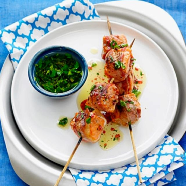 Pancetta Salmon Kebabs with Parsley Vinaigrette.