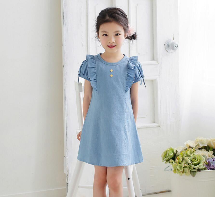 Toddler Baby Dress Denim Kids Girls Princess Straps Button Backless Dress Blue