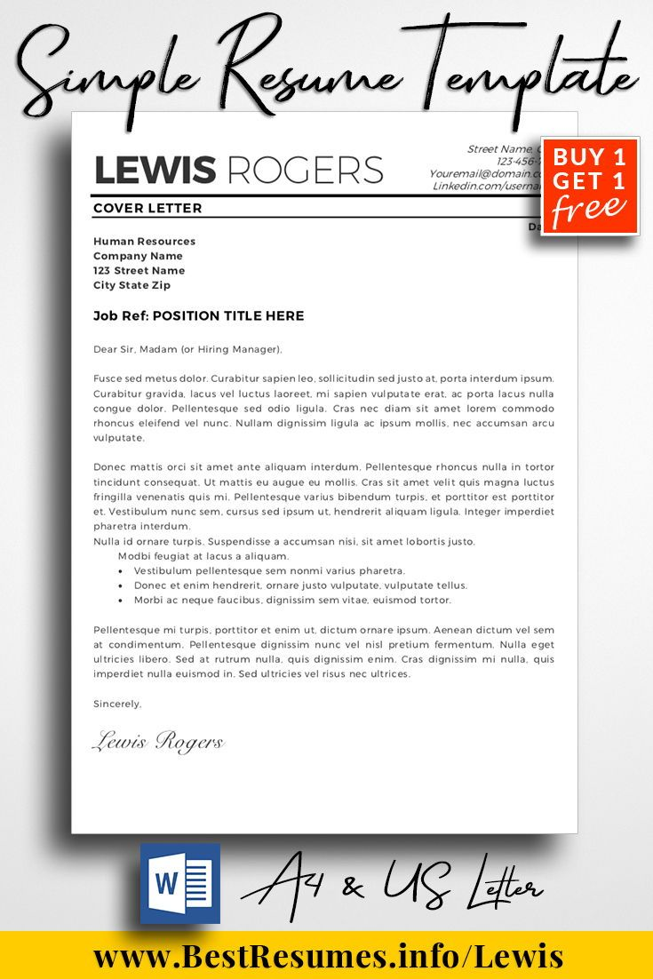 Resume Template Lewis Rogers  Simple Resume Template Simple Resume