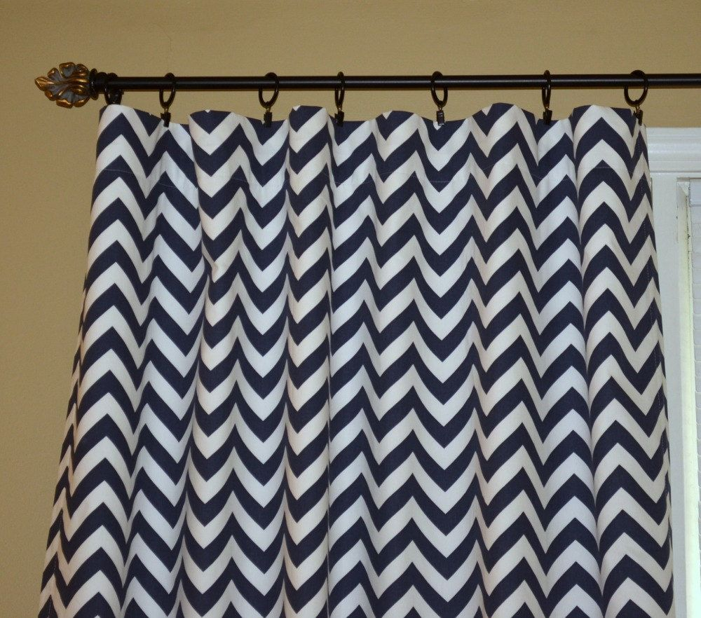 Pair Of Rod Pocket Curtain Panels In Navy Blue And White