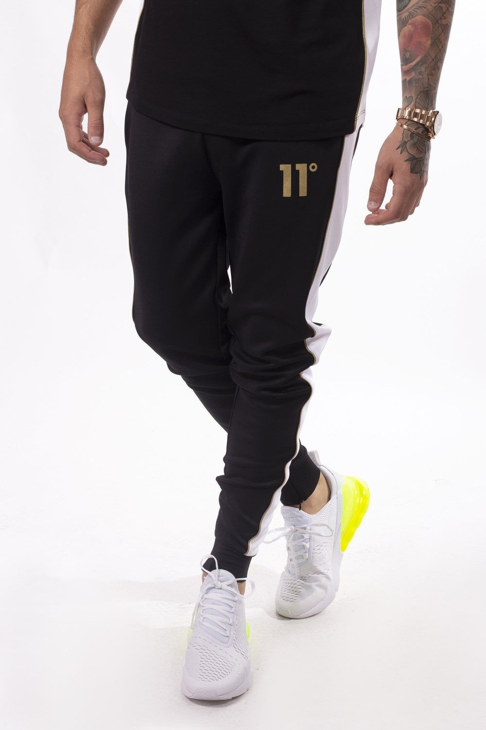 Panelled Poly Track Pants Black White Gold Black White Gold Black Black White