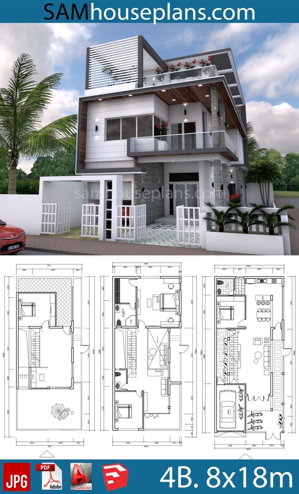 3 Storey Modern House Floor Plans House Plans 8x18m With 4 Bedrooms Architecture House 3 Storey House Design Model House Plan