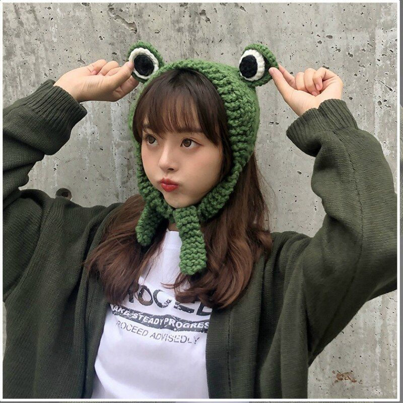 Frog Hat Beanies Knitted Winter Hat Solid Hip-hop Skullies Knitted Hat Cap Costume Accessory Gifts Warm Winter Lovely Christmas