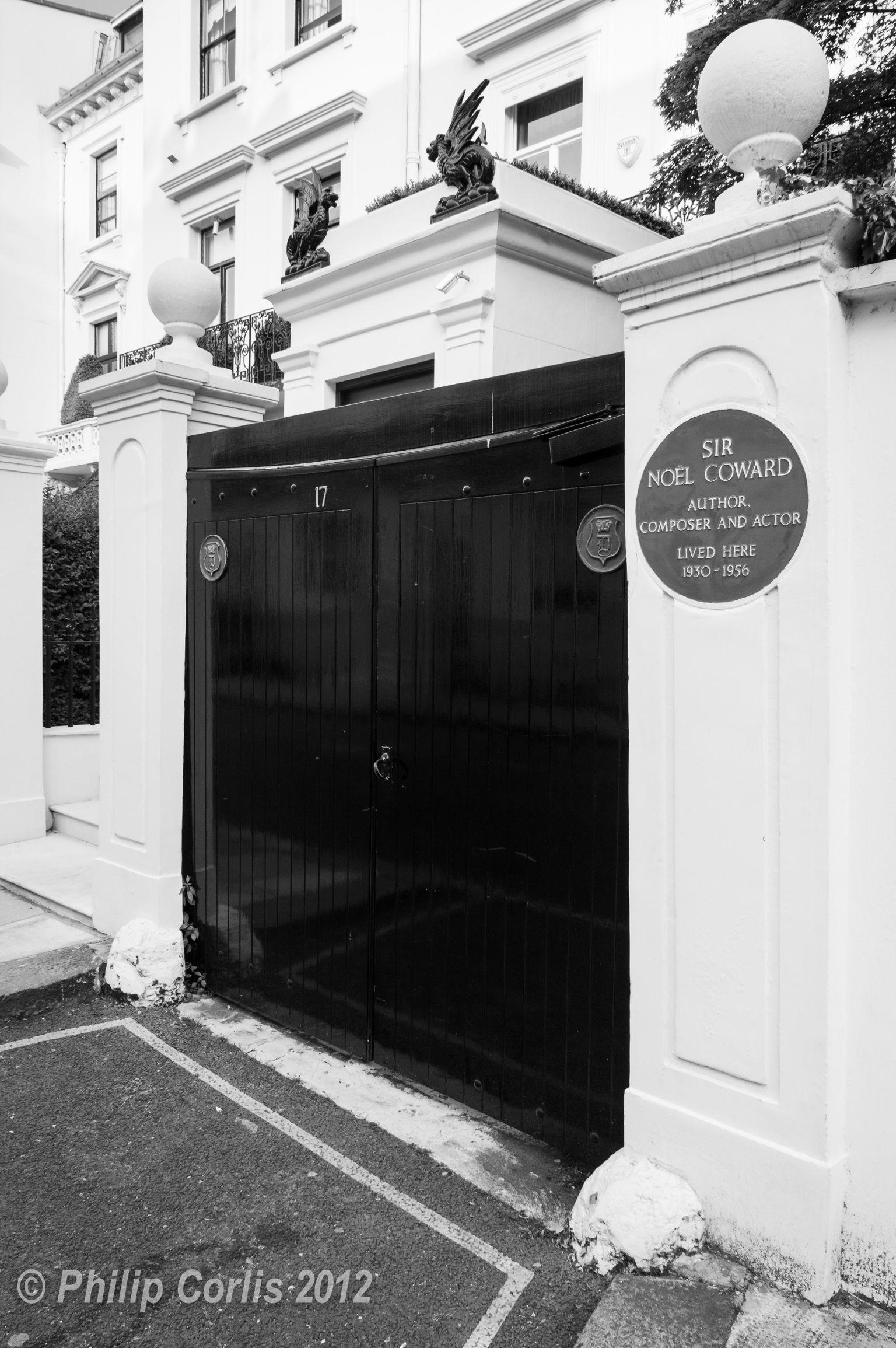 Sir Noel Coward, Belgravia, London, England.