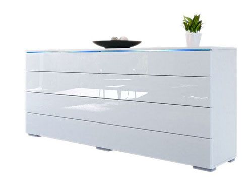 Black Sideboard Modern White Buffet Living Room Furniture High Gloss