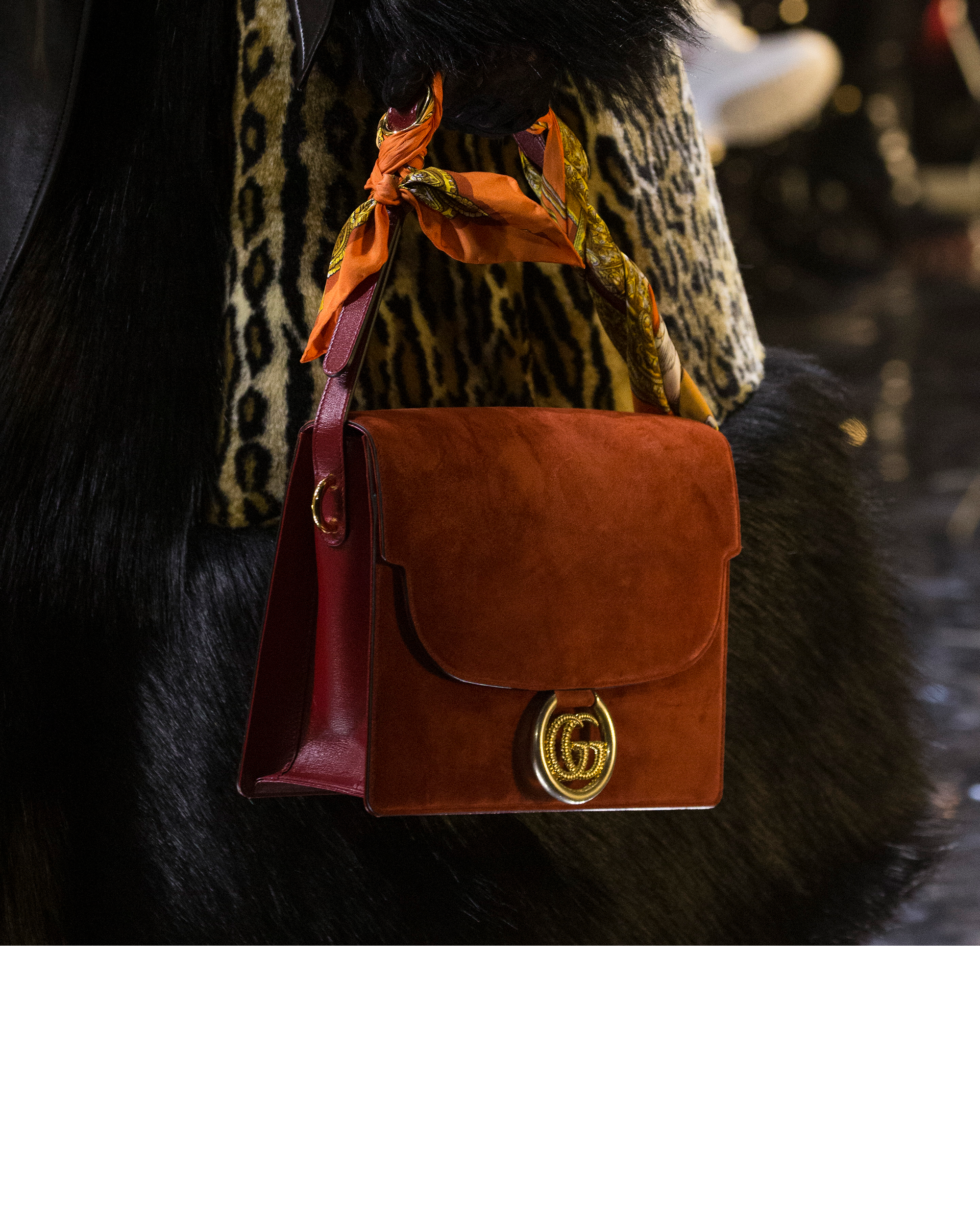 3131d0f58d5d Unveiled on the Gucci Fall Winter 2019 runway, a structured shaped bag  embellished with the Double G hardware.