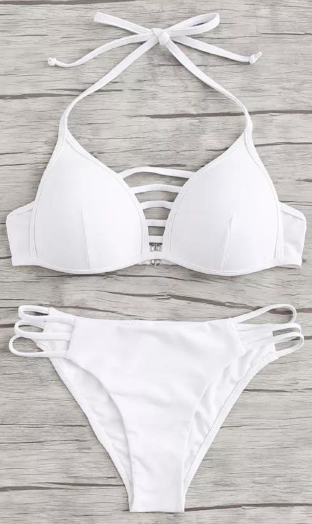 9dbe7ad6de White Lattice Cutout Halter Bikini Set in 2019 | Swim suits ...