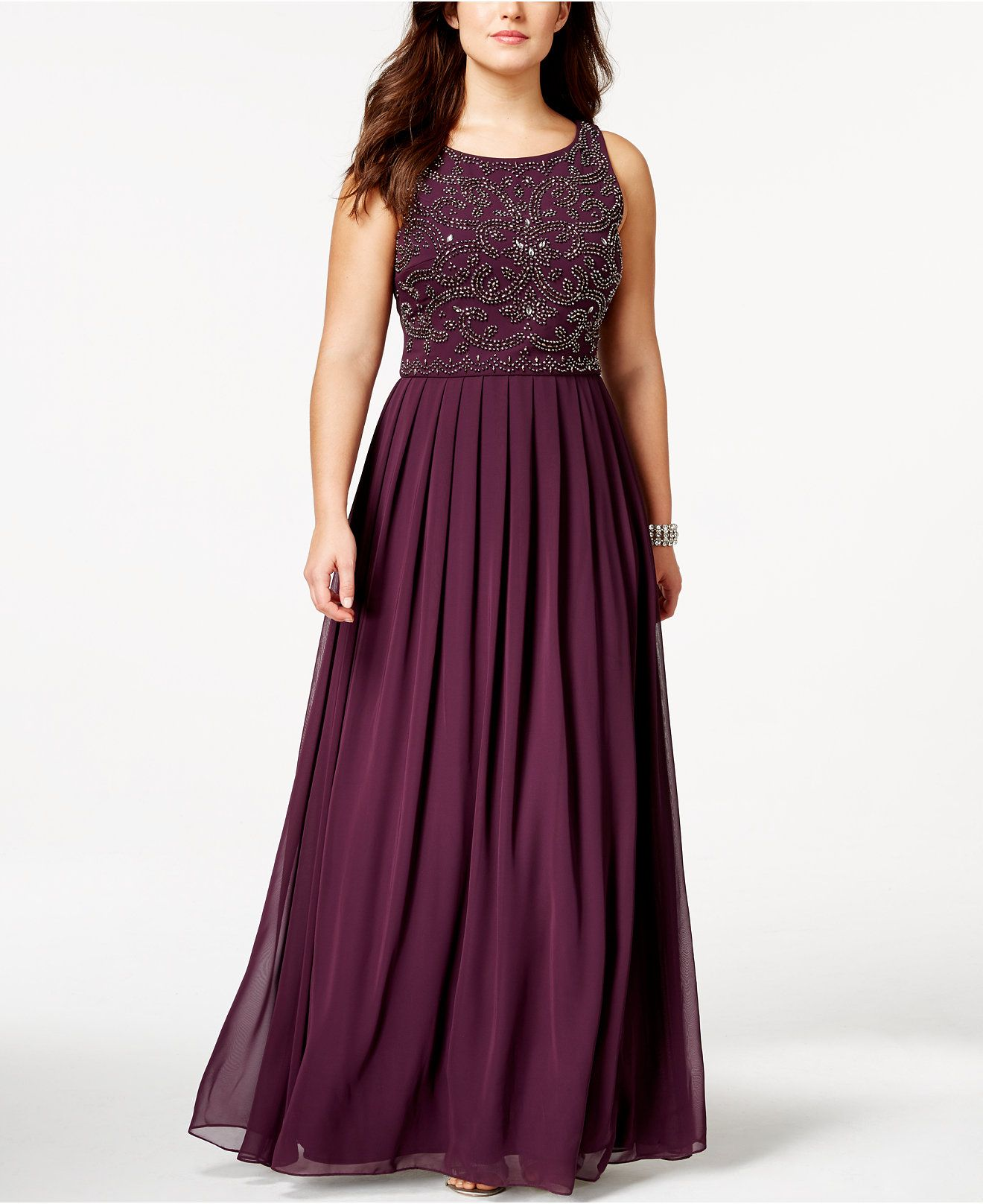 Xscape Plus Size Beaded Empire Pleated Gown Dresses Women