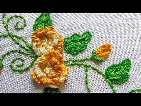 Herringbone Stitch Filling Flower Amp Leaf Chain Stitch Hand Embroidery Tutorials By Nagu S Handwork Youtube Tutoriales Pontos Bordados 224 M 227 O