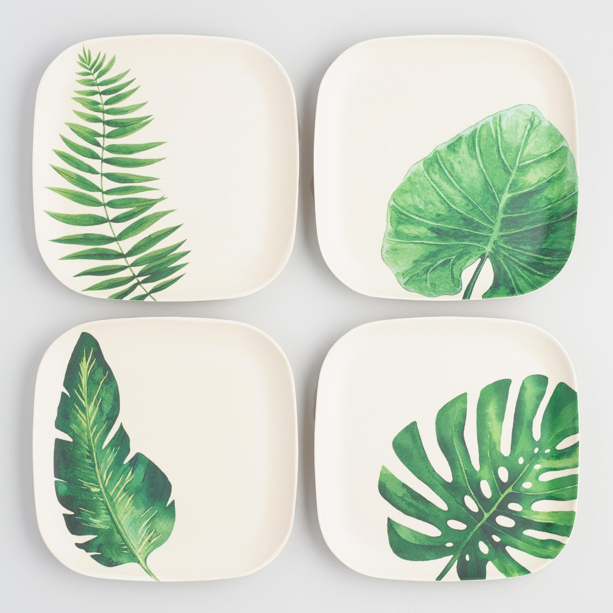 Leaf Print Pressed Bamboo Square Salad Plates Set of 4 by