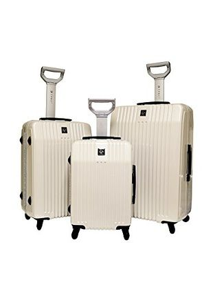 Travelers Polo And Raquet Club 3Pc Hardside Luggage Set W/ 360˚ 4-Wheel System (White Peal)