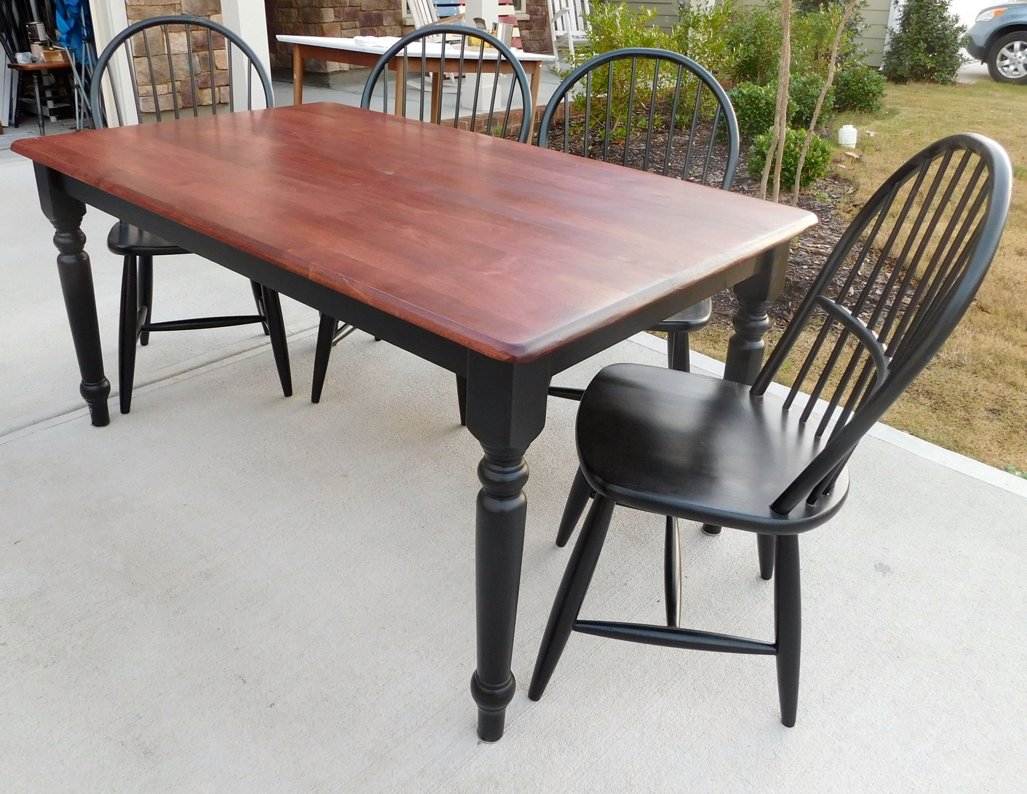 Farmhouse Table Chairs Red Mahogany Stain Flat Poly Sealed