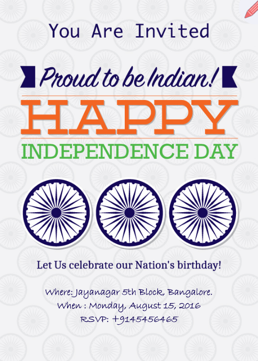 independence day celebration e invite card indian independence day