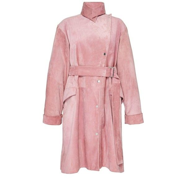 J.W. Anderson Pink Suede Asymmetric Trench Coat ($3,135) ❤ liked on Polyvore